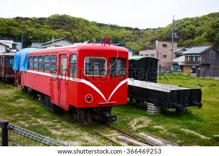 Narrow gauge diesel train of?JAPAN. - stock photo