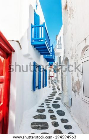 Narrow lane in Mykonos old town, Greece, Europe - stock photo