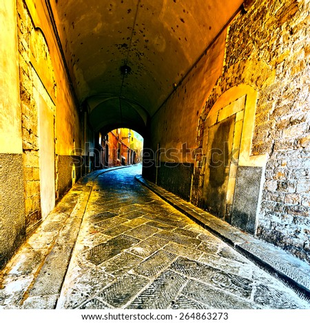 Narrow Passage with Old Buildings in Italian City, Vintage Style Toned Picture - stock photo