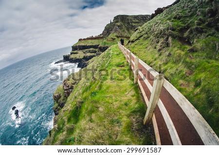 Narrow path at the rocky coastline, Ireland - stock photo
