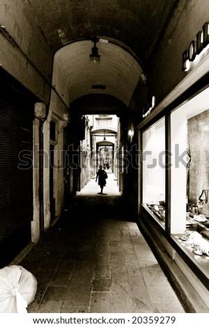 Narrow path in Venice, Italy - stock photo