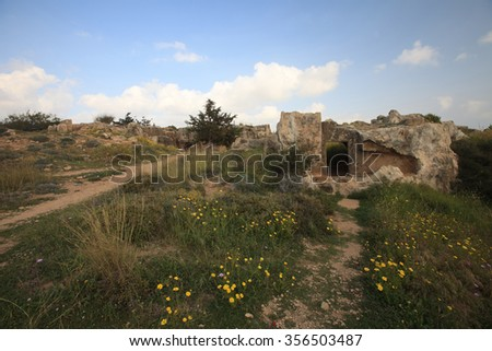 narrow path to the ruins of the tombs of the kings of pathos. Cyprus