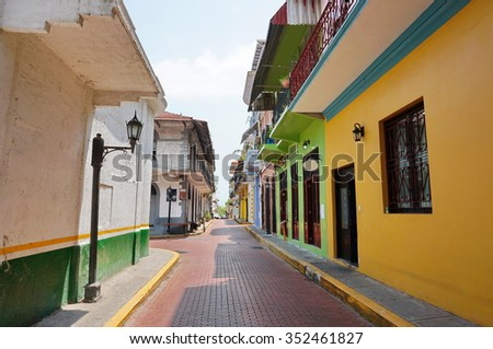Narrow paved street of Casco Viejo, the historic district of Panama City, Panama, Central America - stock photo
