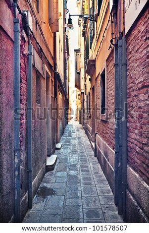 Narrow street - stock photo