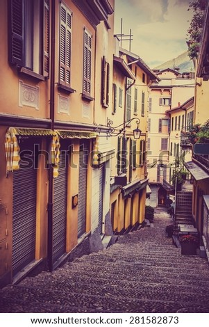 Narrow street in Bellagio. Lake Como. Northern Italy. European travel, vacation, summer, destination, exploration and lifestyle concept.   - stock photo