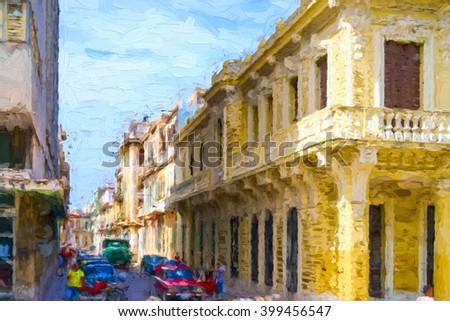 Narrow street in Old Havana - painterly rendition - stock photo