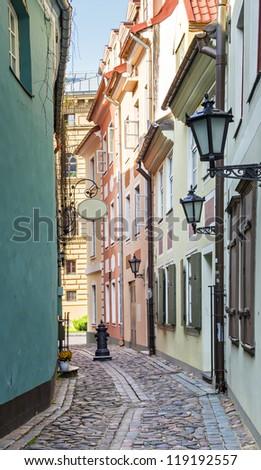 Narrow street in Riga- capital of Latvia, Europe - stock photo