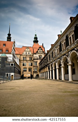 Narrow street in the Old Town, Dresden, Germany - stock photo