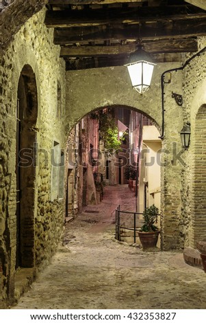 Narrow street in the old town Eze in France at night  - stock photo
