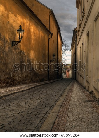 narrow street in the Prague, Czech - stock photo