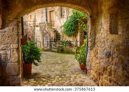 Narrow street of medieval tuff city Sorano with arch, green plants and cobblestone, travel Italy background - stock photo