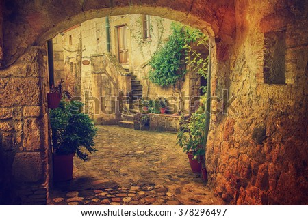 Narrow street of medieval tuff city Sorano with arch, green plants and cobblestone, travel Italy vintage  background - stock photo