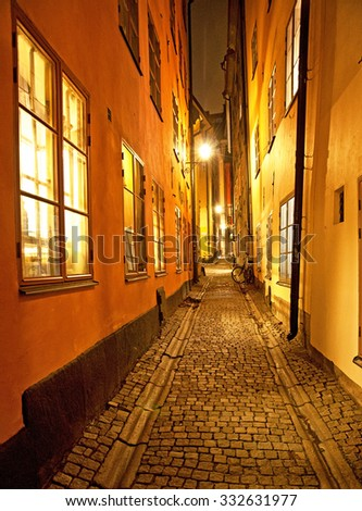 Narrow streets in Stockholm  - stock photo