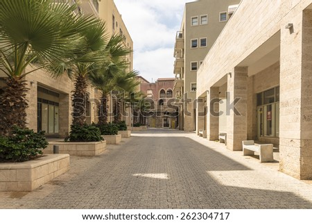 narrow streets of old Jaffa. Stone houses and arches - stock photo