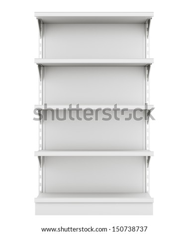 narrow supermarket shelf from front.  - stock photo