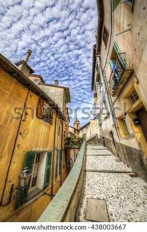 Narrow Walking Path in the Village of Saorge, Alpes-Maritimes, Provence, France - stock photo