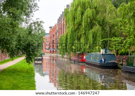 Narrowboats on the canal at Oxford. England - stock photo