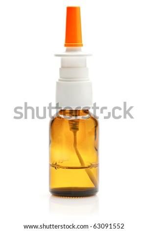Nasal spray medical bottle over white background - stock photo