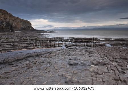 Nash Point on the Glamorgan Heritage coastline in Wales. - stock photo