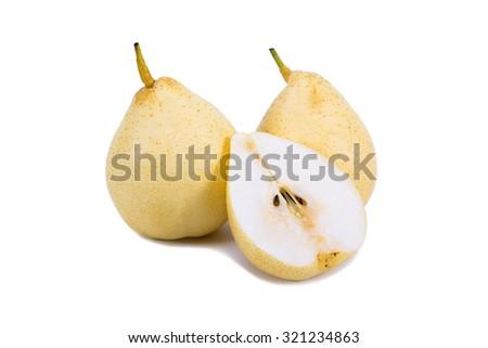 Nashi pear sliced on white background - stock photo
