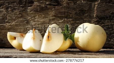nashi pears on wood background - stock photo