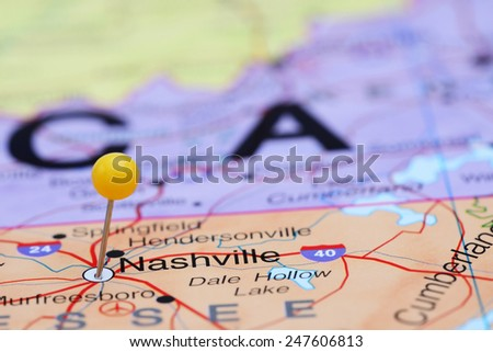 Nashville pinned on a map of USA  - stock photo
