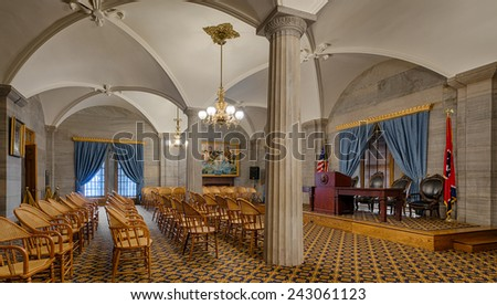 NASHVILLE, TENNESSEE - DECEMBER 1: Supreme Court Chamber in the Tennessee State Capitol building on December 1, 2014 in Nashville, Tennessee  - stock photo