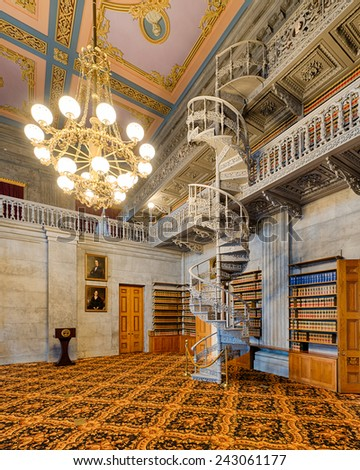 NASHVILLE, TENNESSEE - DECEMBER 1: Wrought iron staircase in the Old State Library in the Tennessee State Capitol building on December 1, 2014 in Nashville, Tennessee - stock photo