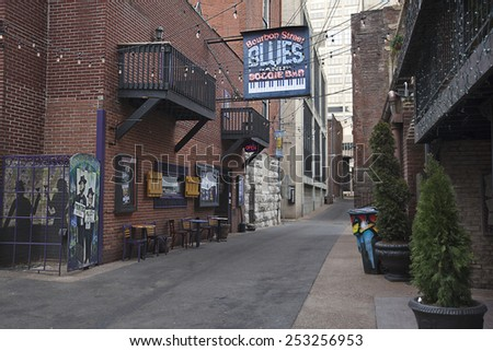 NASHVILLE, TENNESSEE-FEBRUARY 4, 2015:  Printer's Alley in Nashville, Tennessee is world famous for over a hundred years of entertainment excellence. - stock photo