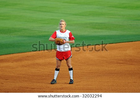 NASHVILLE, TN - June 10, 2009: Country music superstar Carrie Underwood in the field during the CIty of Hope softball game June 10, 2009 in Nashville, Tennessee. - stock photo