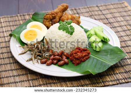 nasi lemak, coconut milk rice, malaysian cuisine - stock photo
