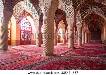 Nasir al-Mulk mosque, Shiraz, Iran - stock photo