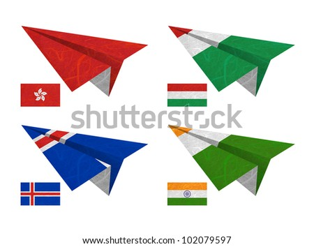 Nation Flag. Airplane recycled paper on white background. ( Hong Kong , Hungary , Iceland , India ) - stock photo