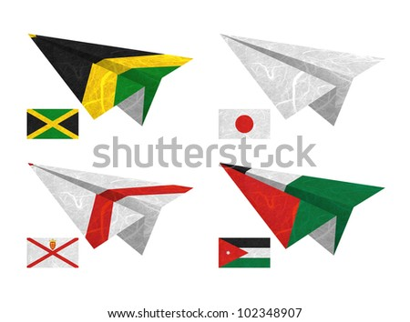 Nation Flag. Airplane recycled paper on white background. ( Jamaica , Japan , Jersey , Jordan ) - stock photo