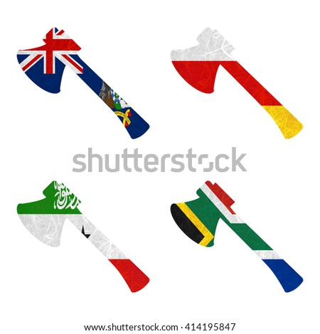 Nation Flag. Axe recycled paper on white background. ( Somaliland , South Africa , South Georgia and the South Sandwich Islands , South Ossetia ) - stock photo