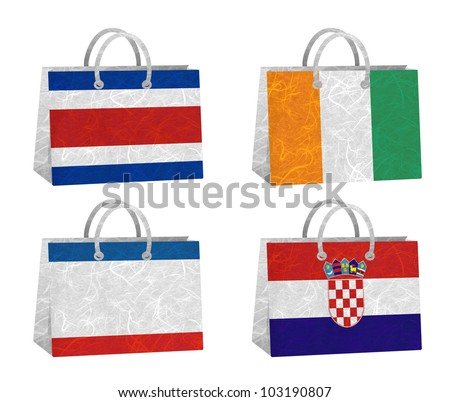 Nation Flag. Bag recycled paper on white background. ( CostaRica, Cote dlvoire , Crimea , Croatia ) - stock photo