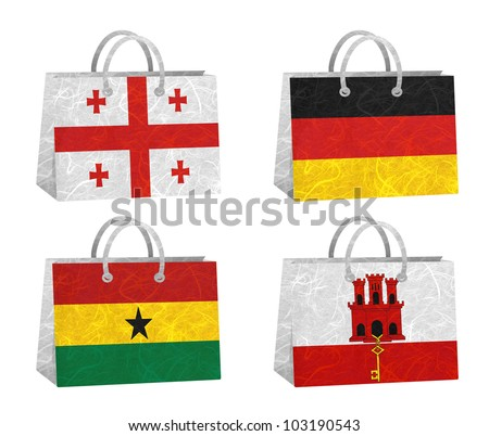 Nation Flag. Bag recycled paper on white background. ( Georgia , Germany , Ghana , Gibraltar ) - stock photo