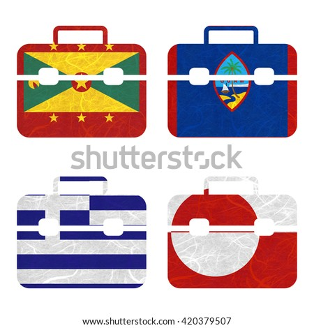 Nation Flag. Bag recycled paper on white background. ( Greece , Greenland , Grenada , Guam ) - stock photo