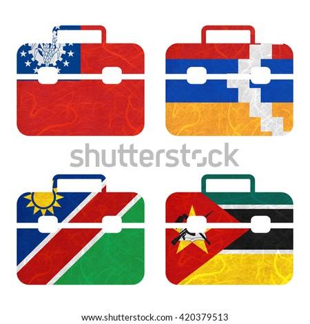Nation Flag. Bag recycled paper on white background. ( Mozambique , Myanmar , Nagorno-Karabakh Republic , Namibia ) - stock photo