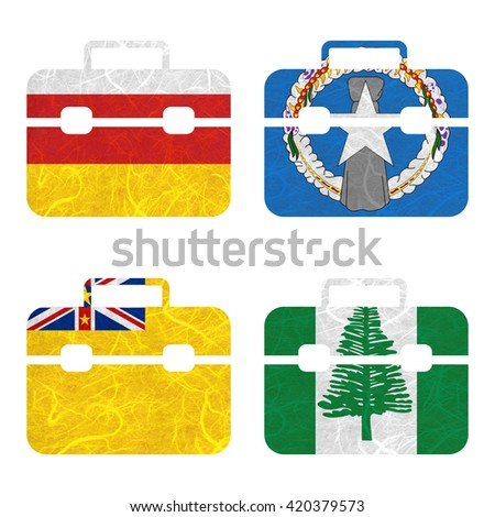 Nation Flag. Bag recycled paper on white background. ( Niue , Norfolk Island , North Ossetia , Northern Mariana Islands ) - stock photo