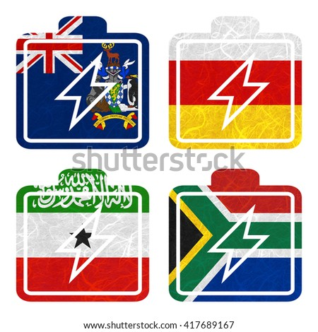 Nation Flag. Battery recycled paper on white background. ( Somaliland , South Africa , South Georgia and the South Sandwich Islands , South Ossetia ) - stock photo