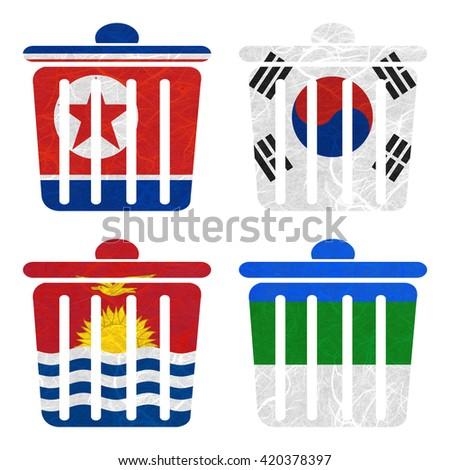 Nation Flag. Bin recycled paper on white background. ( Kiribati , Komi , Korea North , Korea South ) - stock photo