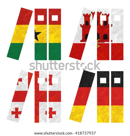 Nation Flag. Book recycled paper on white background. ( Georgia , Germany , Ghana , Gibraltar ) - stock photo