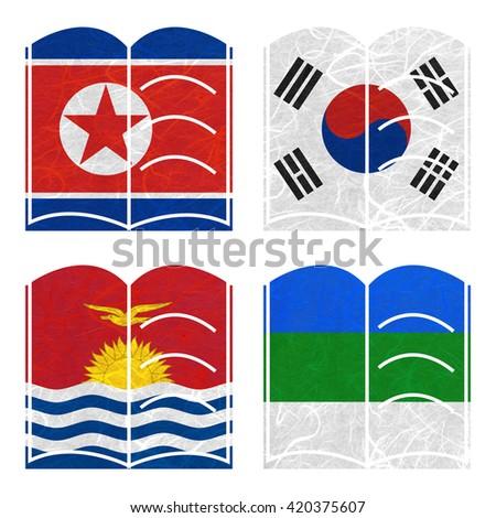 Nation Flag. Book recycled paper on white background. ( Kiribati , Komi , Korea North , Korea South ) - stock photo