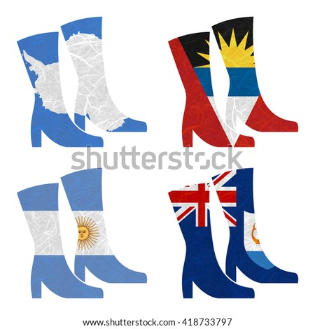 Nation Flag. Boot recycled paper on white background. ( Anguilla , Antarctica , Antigua and Barbuda , Argentina ) - stock photo