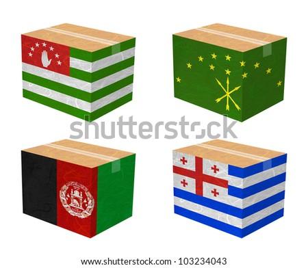 Nation Flag. Box recycled paper on white background. ( Abkhazia , Adygea , Afghanistan , Ajaria ) - stock photo