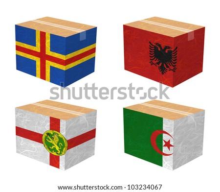 Nation Flag. Box recycled paper on white background. ( Aland , Albania , Alderney , Algeria ) - stock photo
