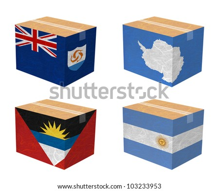 Nation Flag. Box recycled paper on white background. ( Anguilla , Antarctica , Antigua and Barbuda , Argentina ) - stock photo