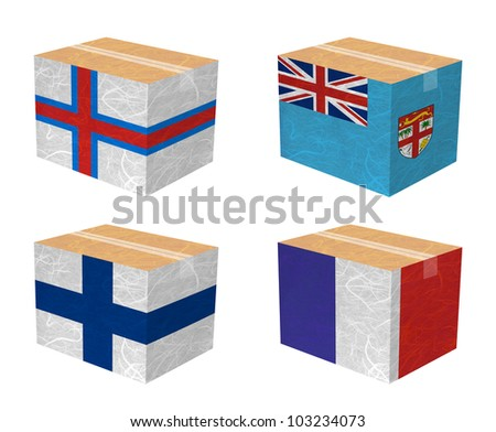 Nation Flag. Box recycled paper on white background. ( Faroe Islands , Fiji , Finland , France ) - stock photo