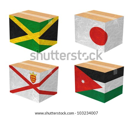 Nation Flag. Box recycled paper on white background. ( Jamaica , Japan , Jersey , Jordan ) - stock photo